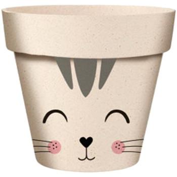Maison & Déco Vases, caches pots d'intérieur Le Monde Des Animaux Cache Pot de Fleurs Chat en Bambou Beige