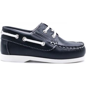 Chaussures Enfant Chaussures bateau Boni & Sidonie Chaussures bateau Mocassins en cuir à lacet - MINI-BRIAC Bleu Marine