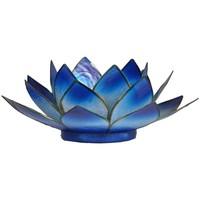 Maison & Déco Bougeoirs, photophores Zen Et Ethnique Porte Bougie Bleu et or Fleur de Lotus Bleu
