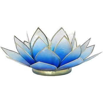 Maison & Déco Bougeoirs, photophores Zen Et Ethnique Porte Bougie Fleur de Lotus Bleu Dégradé et or Bleu
