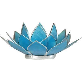 Maison & Déco Bougeoirs, photophores Zen Et Ethnique Porte Bougie Fleur de Lotus Bleu et argent 5 ème chakra Bleu