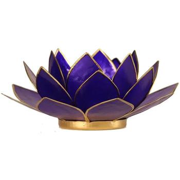 Maison & Déco Bougeoirs, photophores Zen Et Ethnique Porte Bougie Fleur de Lotus Bleu foncé et or 6 ème chakra Bleu