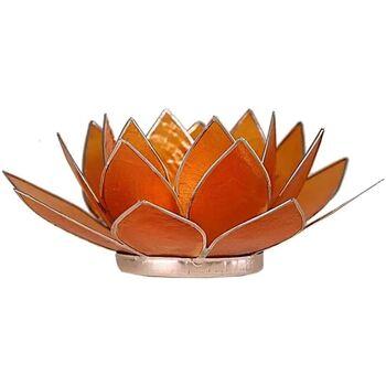 Maison & Déco Bougeoirs, photophores Zen Et Ethnique Porte Bougie Fleur de Lotus Orange et argent 2nd chakra Orange