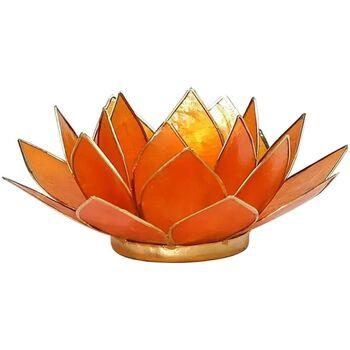 Maison & Déco Bougeoirs, photophores Zen Et Ethnique Porte Bougie Fleur de Lotus Orange et Or 2nd chakra Orange