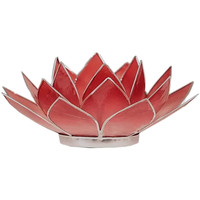 Maison & Déco Bougeoirs, photophores Zen Et Ethnique Porte Bougie Fleur de Lotus rouge nuancé et argent 1er chakra Rouge