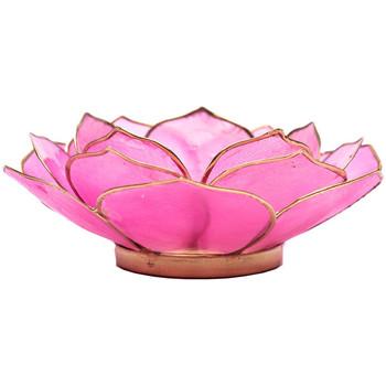 Maison & Déco Bougeoirs, photophores Zen Et Ethnique Porte Bougie Pétales de Lotus Rose et Or Rose