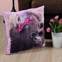 Maison & Déco Coussins Le Monde Des Animaux Coussin bison Rose