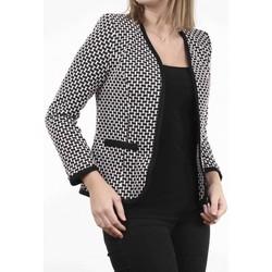 Vêtements Femme Vestes Georgedé Veste Angie jacquard noir et blanc Gris