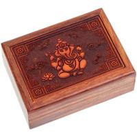 Maison & Déco Paniers, boites et corbeilles Zen Et Ethnique Boite Ganesh en bois sculpté 17.5 x 12.5 x 5.7 cm Marron