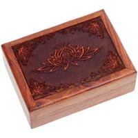 Maison & Déco Paniers, boites et corbeilles Zen Et Ethnique Boite Lotus en bois sculpté 18 x 13 x 6 cm Marron