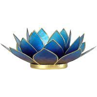 Maison & Déco Bougeoirs, photophores Zen Et Ethnique Porte Bougie Fleur de Lotus Bleu violet bord or Bleu