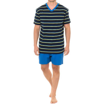 Vêtements Homme Pyjamas / Chemises de nuit J And J Brothers Pyjama à manches courtes J&J Brothers Bleu