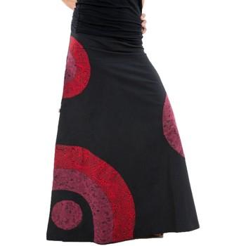 Vêtements Femme Jupes Fantazia Jupe longue psychedelic nepali dream noir rouge hiver Noir