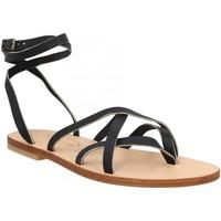Chaussures Femme Votre prénom doit contenir un minimum de 2 caractères Spartiates Phoceennes Linda cuir Femme Noir Noir