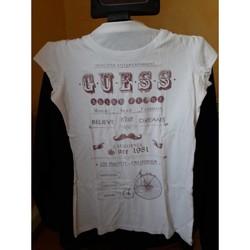 Vêtements Femme T-shirts manches courtes Guess TRES BEAU TEE SHIRT MARQUE GUESS TAILLE L Blanc