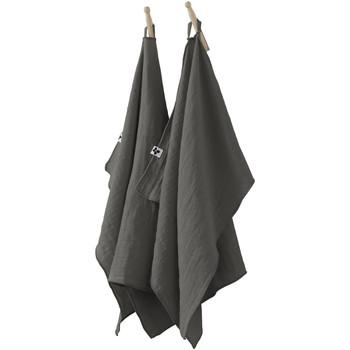 Maison & Déco Torchons 1001Kdo Pour La Maison Lot de 2 essuie-mains Gaze de coton 50 x 70 cm Granit