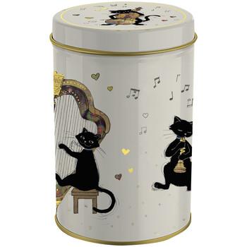 Maison & Déco Paniers, boites et corbeilles Le Monde Des Animaux Boite métal ronde Les chats musiciens AMYS BUG ART Beige