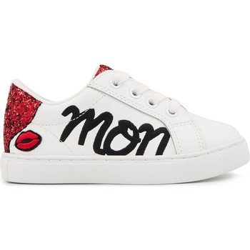 Chaussures Enfant Baskets basses Bons baisers de Paname Baskets en cuir Mini Simone Mon Coeur BLANC