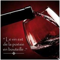 Maison & Déco Tableaux, toiles Gourmandise Cadre carré en toile 40 cm - Le Vin est de la Poésie Rouge