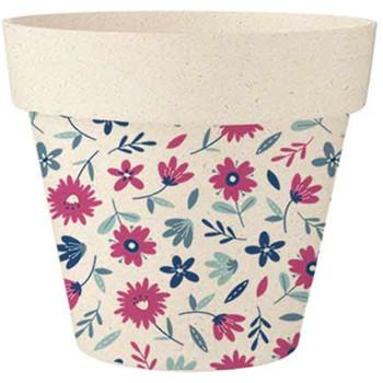 Maison & Déco Vases, caches pots d'intérieur Zen Et Ethnique Cache Pot en Bambou petites fleurs 25.5 cm Beige