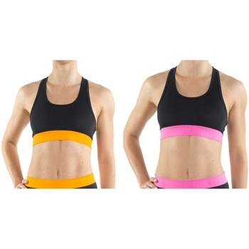 Sous-vêtements Femme Brassières Freegun Lot de 2 Brassières de sport avec ceinture élastiquée Aktiv Noir