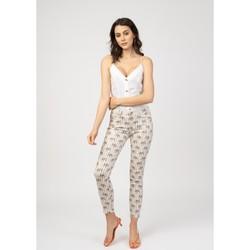 Vêtements Pantalons 5 poches Toxik3 Pantalon imprimé rayé - Mayane Rose