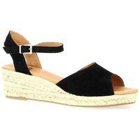 Chaussures Femme Sandales et Nu-pieds Pao Espadrille cuir velours Noir
