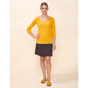 Vêtements Femme T-shirts manches courtes La Fiancee Du Mekong T-shirt coton bio flammé manches 3/4 AMALIA Jaune curry