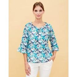 Vêtements Femme Tops / Blouses La Fiancee Du Mekong Top imprimé en coton col froncé AURORA Bleu marine