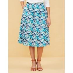 Vêtements Femme Jupes La Fiancee Du Mekong Jupe midi imprimée coton THEMBA Bleu marine