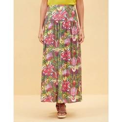 Vêtements Femme Jupes La Fiancee Du Mekong Jupe longue imprimée fluide NARRY Kaki