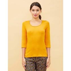 Vêtements Femme T-shirts manches longues La Fiancee Du Mekong T-shirt coton bio uni AMALI Jaune tournesol