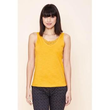 Vêtements Femme Débardeurs / T-shirts sans manche La Fiancee Du Mekong Débardeur coton bio flammé HOLPAN Jaune curry