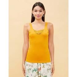 Vêtements Femme Débardeurs / T-shirts sans manche La Fiancee Du Mekong Débardeur dentelle coton bio HOLPI Jaune tournesol