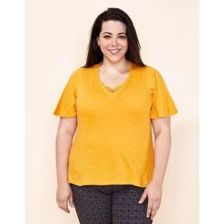 Vêtements Femme T-shirts manches courtes La Fiancee Du Mekong T-shirt coton bio flammé TELLA Jaune curry