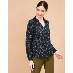 Vêtements Femme Tops / Blouses La Fiancee Du Mekong Blouse coton bio col volanté manches longues NAMCHA Noir