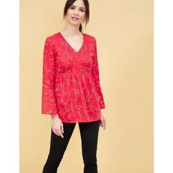 Vêtements Femme Tuniques La Fiancee Du Mekong Tunique empire coton bio manches longues GOLMA Rouge corail