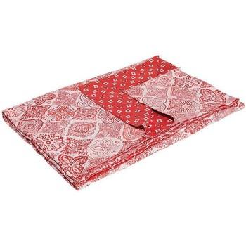 Maison & Déco Plaids, jetés La Fiancee Du Mekong Jeté de lit coton bi print Rouge magma