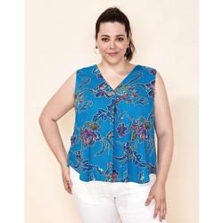 Vêtements Femme Débardeurs / T-shirts sans manche La Fiancee Du Mekong Débardeur imprimé fluide CEMARA Bleu