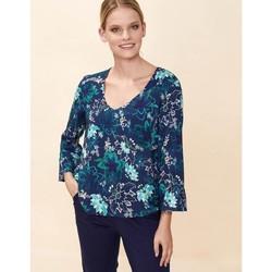Vêtements Femme Tops / Blouses La Fiancee Du Mekong Top fluide col V CLERIA Bleu foncé