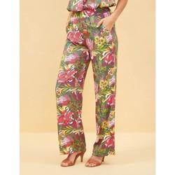 Vêtements Femme Pantalons fluides / Sarouels La Fiancee Du Mekong Pantalon fluide taille elastiquée ESTIA Kaki
