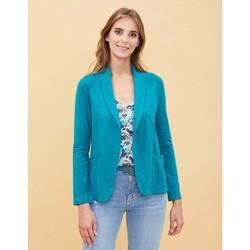 Vêtements Femme Vestes / Blazers La Fiancee Du Mekong Veste blazer fluide CHEKA Bleu paon