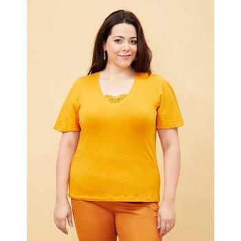 Vêtements Femme T-shirts manches courtes La Fiancee Du Mekong T-shirt coton bio manches papillon TELLY Jaune tournesol