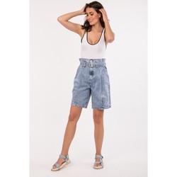 Vêtements Shorts / Bermudas Toxik3 Bermuda avec ceinture - Soy Bleu jean clair