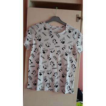 Vêtements Femme T-shirts manches courtes Jennyfer tee shirt blanc et noir Blanc
