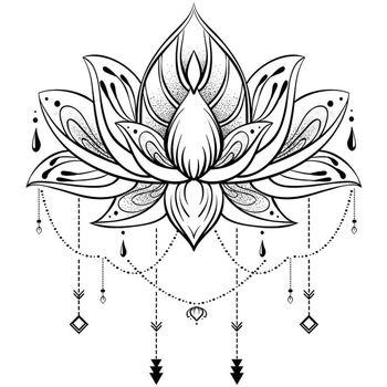 Maison & Déco Stickers Zen Et Ethnique Autocollant Mural Lotus Noir