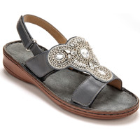 Chaussures Femme Sandales et Nu-pieds Pediconfort Sandales cuir extra larges gris