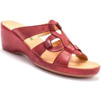 Chaussures Femme Mules Pediconfort Mules en cuir à talon compensé rouge