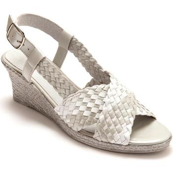 Chaussures Femme Sandales et Nu-pieds Pediconfort Sandales bicolores grande largeur grisblanc