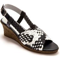 Chaussures Femme Sandales et Nu-pieds Pediconfort Sandales bicolores grande largeur marineblanc